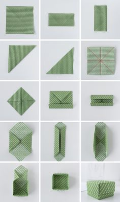 DIY: origami from fabric remnants + instructions for simple boxes - Sophie Bastelideen - DIY: Simple origami boxes made of fabric - Origami Design, Diy Origami, Origami Simple, Origami Mouse, Origami Fish, Origami Butterfly, Origami Stars, Origami Flowers, Origami Paper