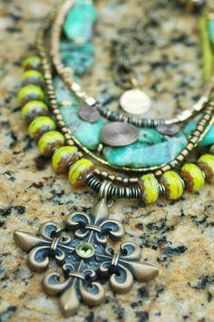 Fleur de Lis: Green Amazonite, Chartreuse Glass & Bronze Fleur de Lis Pendant Necklace