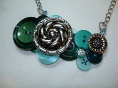 Vintage Button Necklace EMERALD GLOW  by LilyBankButtonDesign