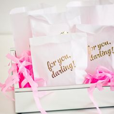 These lovely favor bags are so pretty they're practically a gift in itself! Perfect for use as favor, gift, treat, or snack bags.