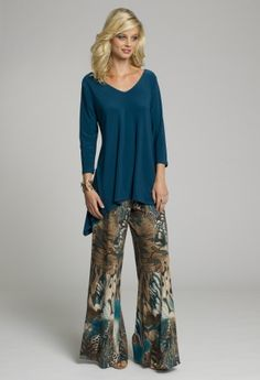 f95c4dce6c2 dressy tops vneck hi lo top and three quarter sleeves from camille la vie