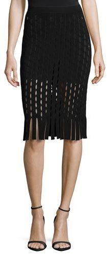 2d52b3ee4e Alexander Wang Pencil Skirt W/Slit and Fringe Detail, Nocturnal Black Knit Pencil  Skirt