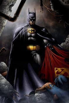 Batman_and_superman_by_SeanE Obviously Batman man brought the whopass. - Batman Canvas Art - Trending Batman Canvas Art - Batman_and_superman_by_SeanE Obviously Batman man brought the whopass. Batman Vs Superman, Batman Fan Art, Batman Poster, Batman Artwork, Batman Dark, Batman Wallpaper, Batman The Dark Knight, Batman Robin, Superman Drawing