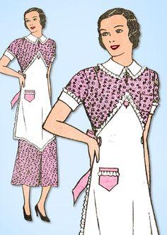 1930s Vintage Mail Order Sewing Pattern 2505 Misses Dress & Apron Size 14 32 B #MailOrder #DressPattern