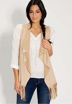 faux suede vest with fringe (original price, $32) available at #Maurices