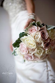 DollFace Studio | Wedding & Portrait Photography pale rose bouquet ivory pink