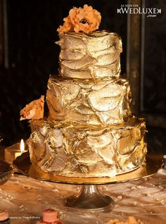 Gold buttercream. The Wedding Cake Shoppe. If ever I had a New Years Eve wedding.