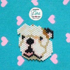 "Chien ""bulldog"" - Accesorios d art Seed Bead Patterns, Peyote Patterns, Jewelry Patterns, Beading Patterns, Stitch Patterns, Artistic Wire, Nativity Crafts, Melting Beads, Beaded Animals"