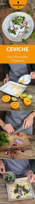 CEVICHE - Fangfrischer roher Fisch wird mit Limetten- oder Zitronensaft aromatisiert und zieht ein paar Stunden im eigenen Saft, bis der Fisch nicht mehr glasig ist und fast wie gegart schmeckt. - Ein
