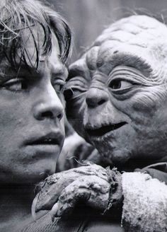 "Yoda and Luke. ""Remember, a Jedi's strength flows from the Force. But beware. Anger, fear, aggression. The dark side are they. Once you start down the dark path, forever will it dominate your destiny."""