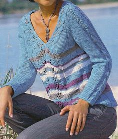 Free Knitting Patterns - Jersey with lists of leaf sample
