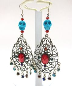 Day Of The Dead Earrings Sugar Skull Chandelier by sweetie2sweetie, $14.99