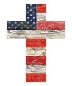 American Flag Patriotic Red White and Blue Crackled Design 14 x 10 Wood Wall Art Cross ~ Wall Crosses ~ Olivia Decor - decor for your home and office. Pallet Flag, Wood Flag, Pallet Art, Pallet Wood, Pallet Painting, Fourth Of July Decor, 4th Of July Decorations, July 4th, Cross Decorations