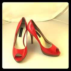 Red Paten Leather W/Wood Stiletto Heels