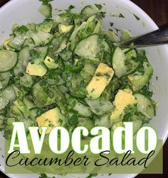 Everything works about this salad: the crunchy but slightly softened cucumbers, the creamy avocados, the earthy cilantro, and the hint of spice that tingles your tongue. Cucumber Avocado Salad, Dishes To Go, Healthy Side Dishes, Cilantro, Earthy, Entrees, Spices, Meals, Vegetables