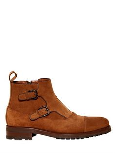 Suede Monk Strap Low Boots