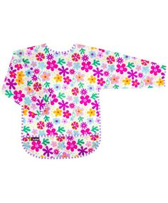 Taffeta Waterproof Bib With Sleeves | Flowers