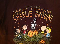 08fcc08f1 Details about Peanuts Its The Great Pumpkin Charlie Brown Unisex T-shirt L Brown  Snoopy Linus