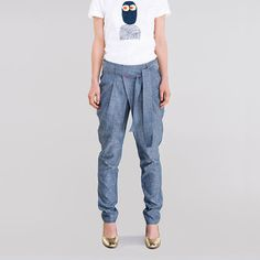 Defenetely these! Clever design and I like the light color. New designer for me. Clever Design, Light Denim, Denim Pants, News Design, Light Colors, Organic Cotton, Sweatpants, Fashion, Moda