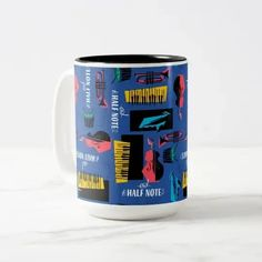Soul | Jazz Instrument Pattern Two-Tone Coffee Mug Saxophone Instrument, Jazz Instruments, Piano Gifts, Animated Movies For Kids, Music Teacher Gifts, Soul Jazz, Musician Gifts, Jazz Club, Disney Birthday