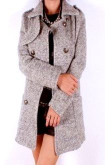 Fashionable Turn-Down Collar Solid Color Cashmere Pockets Slimming Long Sleeves Trench Coat