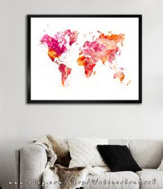 WATERCOLOR MAP World Map. Watercolor Painting. by WatercolorBook