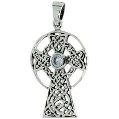 Sterling Silver Celtic High Cross Pendant Clear CZ, 18 inch starter chain included Sabrina Silver. $39.30