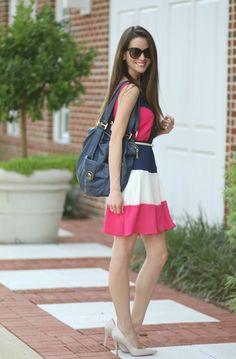 Pink Blush chiffon Colorblock dress
