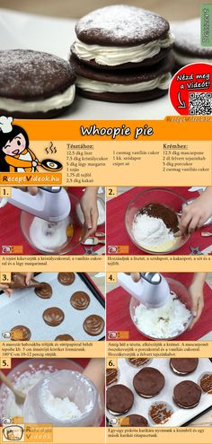 Whoopie pie How about a sweet Whoopie pie for the weekend? The Whoopie Pie Recipe video is easy to find using the QR code :] # Biscuits Pie Dessert, Dessert Drinks, Eat Dessert First, Cookie Recipes, Dessert Recipes, Hungarian Recipes, Whoopie Pies, Sweet Cakes, Other Recipes