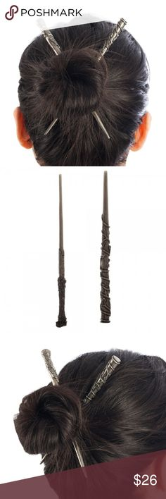 """Harry Potter Wands Hair Sticks Set Hermione Harry Set of 2 Hair Sticks - 1 featuring Harry Potter's wand, 1 featuring Hermione's wand.    These hair sticks measure roughly 6.5 inches long.  Made of metal.  Officially Licensed Harry Potter Merchandise.    Theme:  Harry Potter - Officially Licensed Brand:  Bioworld Material: Metal Style: Hair Sticks Size:  6-6.5"""" Long  Intended for Ages 14 and Up.  Makes a great gift!  CONDITION - New  Check my Posh for LOTS more Harry Potter items! Bioworld…"""