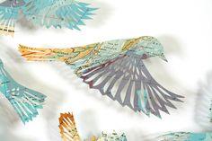 claire brewster - blue birds, paper, map, birds, flock, art, sculpture, paper cut, Manila, commission, hotel