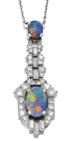 A black opal and diamond pendant necklace, early 20th century.