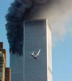 A jet airliner about to impact one of the World Trade Center Towers in New York Tuesday, Sept. 11, 2001.