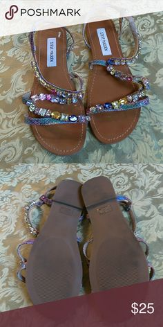 Multicolored jeweled sandals Steve Madden multicolored jeweled sandal. Worn once. Steve Madden Shoes Sandals