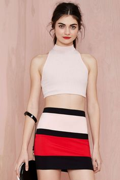 After Party Vintage Dee Ribbed Crop Top