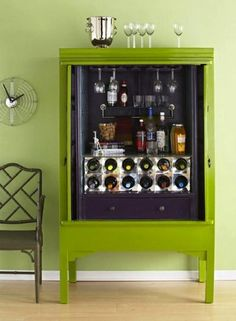 By adding a bottle storage rack below and a wine-glass hanger above, an armoire quickly goes from ho-hum to party central. With room enough to hold packaged bar snacks, cocktail essentials, and even serving dishes, this is one well-stocked bar cabinet