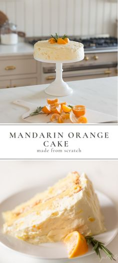 This beautiful made-from-scratch Mandarin Orange Cake is easy to make, especially with the help of little hands. Its a fresh twist on an old classic Mandarin Orange Cake made without Cool Whip or cake mix. Just fresh, flavorful, beautiful cake. 13 Desserts, Summer Dessert Recipes, Easy Cake Recipes, Sweet Recipes, Baking Recipes, Cookie Recipes, Delicious Desserts, Cake Recipes From Scratch, Dessert From Scratch
