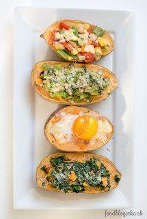 Batáty 4x inak Avocado Egg, Polenta, Tasty Dishes, Baked Potato, Potatoes, Baking, Breakfast, Ethnic Recipes, Food