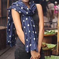 this scarf is for sale on NOVICA $54 Batik scarf, 'Blue Polka Retro'