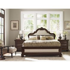 Tommy Bahama 552-133C Kilimanjaro Barcelona Queen Panel Bed in Dark Brown/Tangier