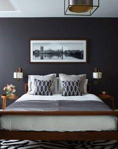Home bedroom, gray bedroom walls, grey walls, bedroom colors, bedro Blue Bedroom, Trendy Bedroom, Home Decor Bedroom, Modern Bedroom, Bedroom Wall, Master Bedroom, Bedroom Furniture, Bedroom Quotes, Bedroom Colors