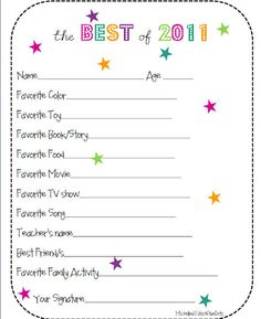 Best of the year - fill in the blank