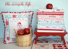 The Simple Life fabric line. Great  idea for showing off your favorite fabrics.