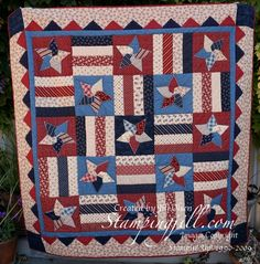 handmade Stars and Stripes Quilt | StampingJill.com - Jill Olsen ... another great quilt that could be emulated in paper ... 4, 6 or 9 patch of pieced blocks ...