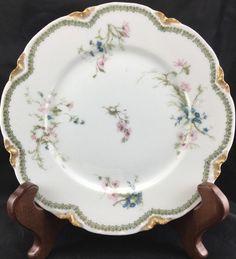 Limoges Fine China Haviland Scalloped Edge Salad Plate Gold Leaf Pink Blue Green | eBay