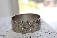 Antique Art Nouveau Etched Floral Hinged Bangle by TreasuresFromUs
