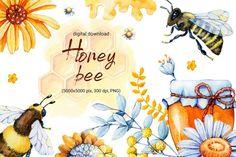 Honey bee, wasp, bumblebee. Watercolor digital paper example image 1 Honey Packaging, Honeycomb Paper, Meadow Flowers, Scrapbook Stickers, Wasp, Print And Cut, Watercolor Illustration, Watercolor Paper, Design Bundles