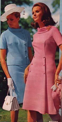 Aldens 69 ss pink blue suits - Dresses for Women 1960s Fashion Dress, 1960s Fashion Women, 60s And 70s Fashion, 1960s Dresses, Retro Fashion, Vintage Fashion, Fashion Outfits, Runway Fashion, Spring Fashion