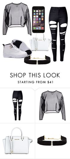 """""""cardee outfit"""" by scottsabriyah ❤ liked on Polyvore featuring WithChic, Yves Saint Laurent, MICHAEL Michael Kors and Anissa Kermiche"""