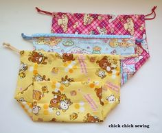 chick chick sewing: Sewing Rilakkuma and Cinnamoroll Drawstring Bags for our Girls  娘達に、リラックマ&シナモロールの巾着袋